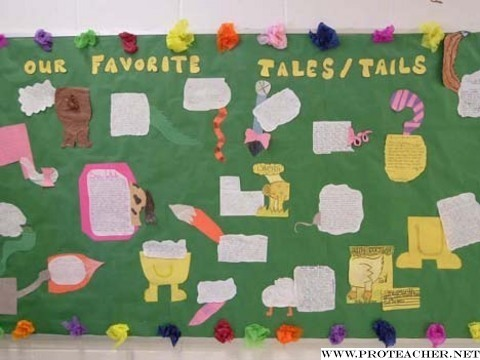 This bulletin board is about fairy tales and similar stories. The kids were