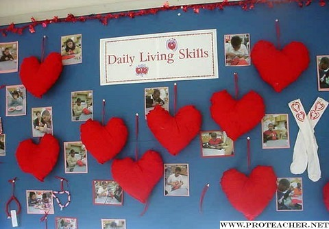 February, Valentine's Day: Daily Living Skills Bulletin Board