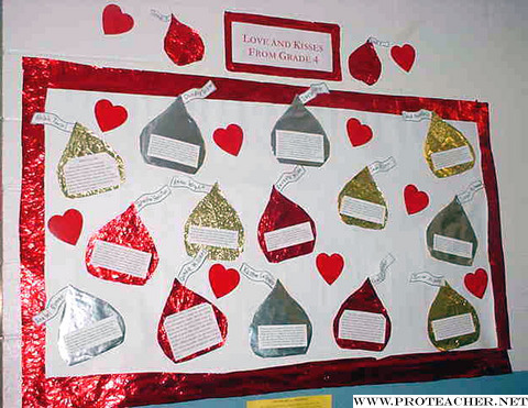 February: Hugs and Kisses From Grade 4 Bulletin Board